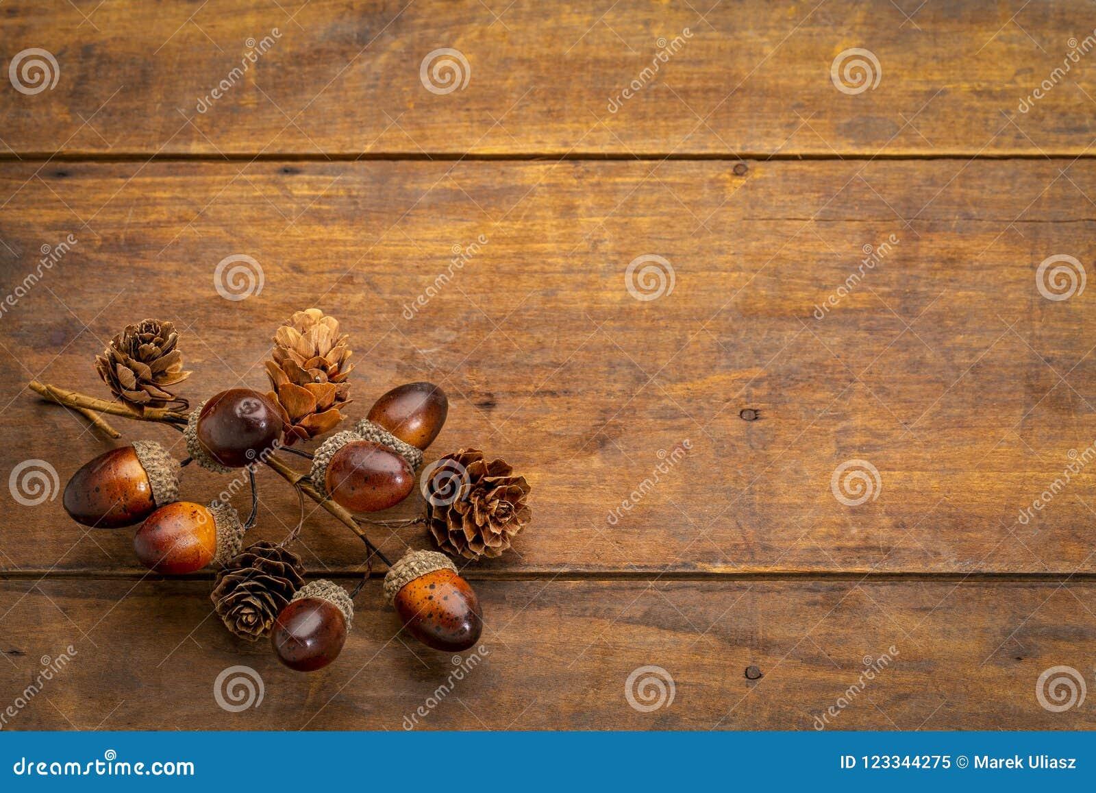 Rustiek grungehout met dalingsdecoratie