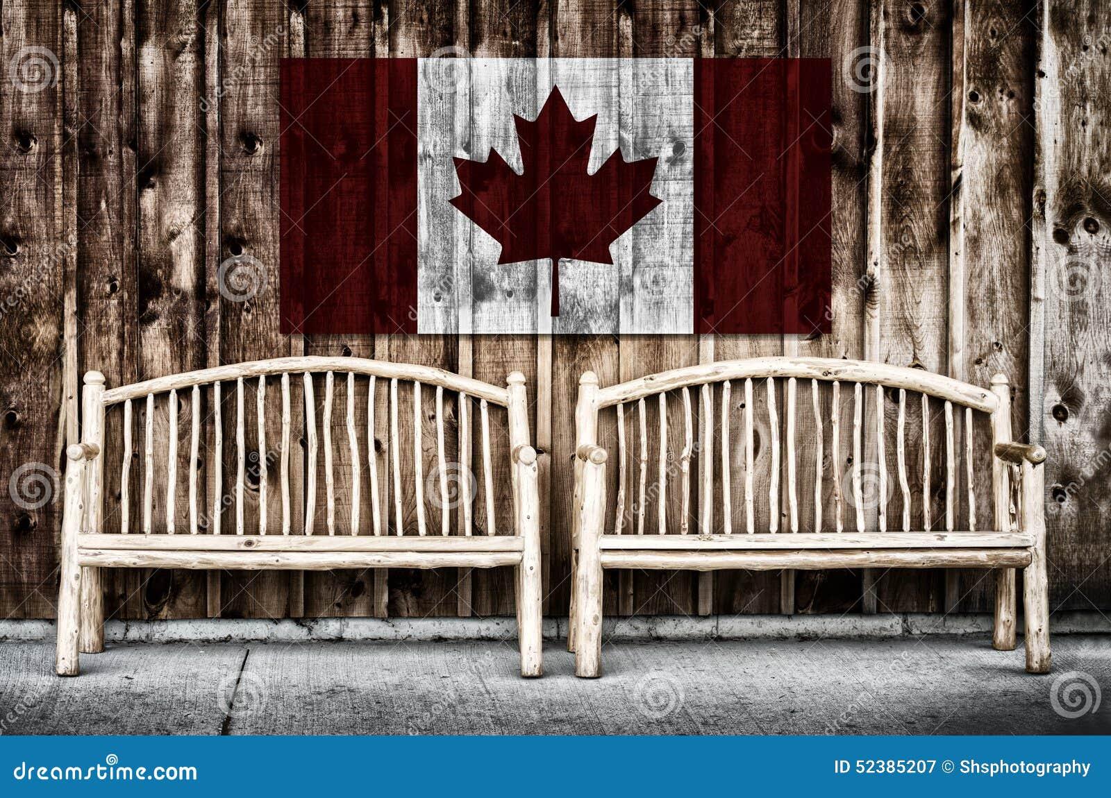 Rustieke Logboekbanken met de Vlag van Canada
