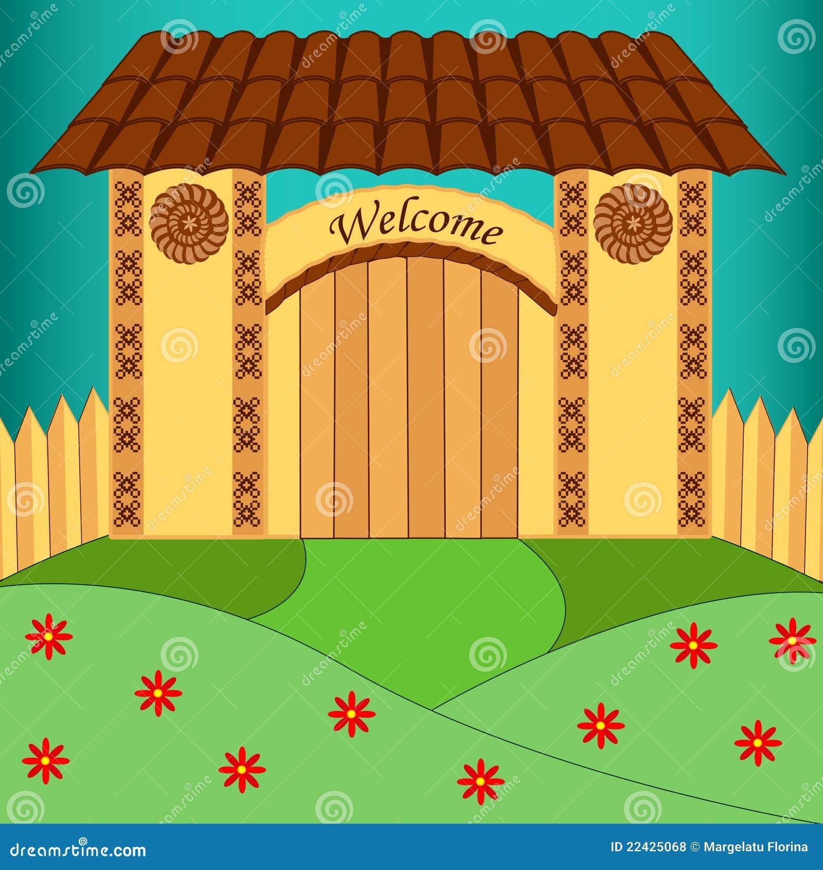 Rustieke poort met welkom bericht