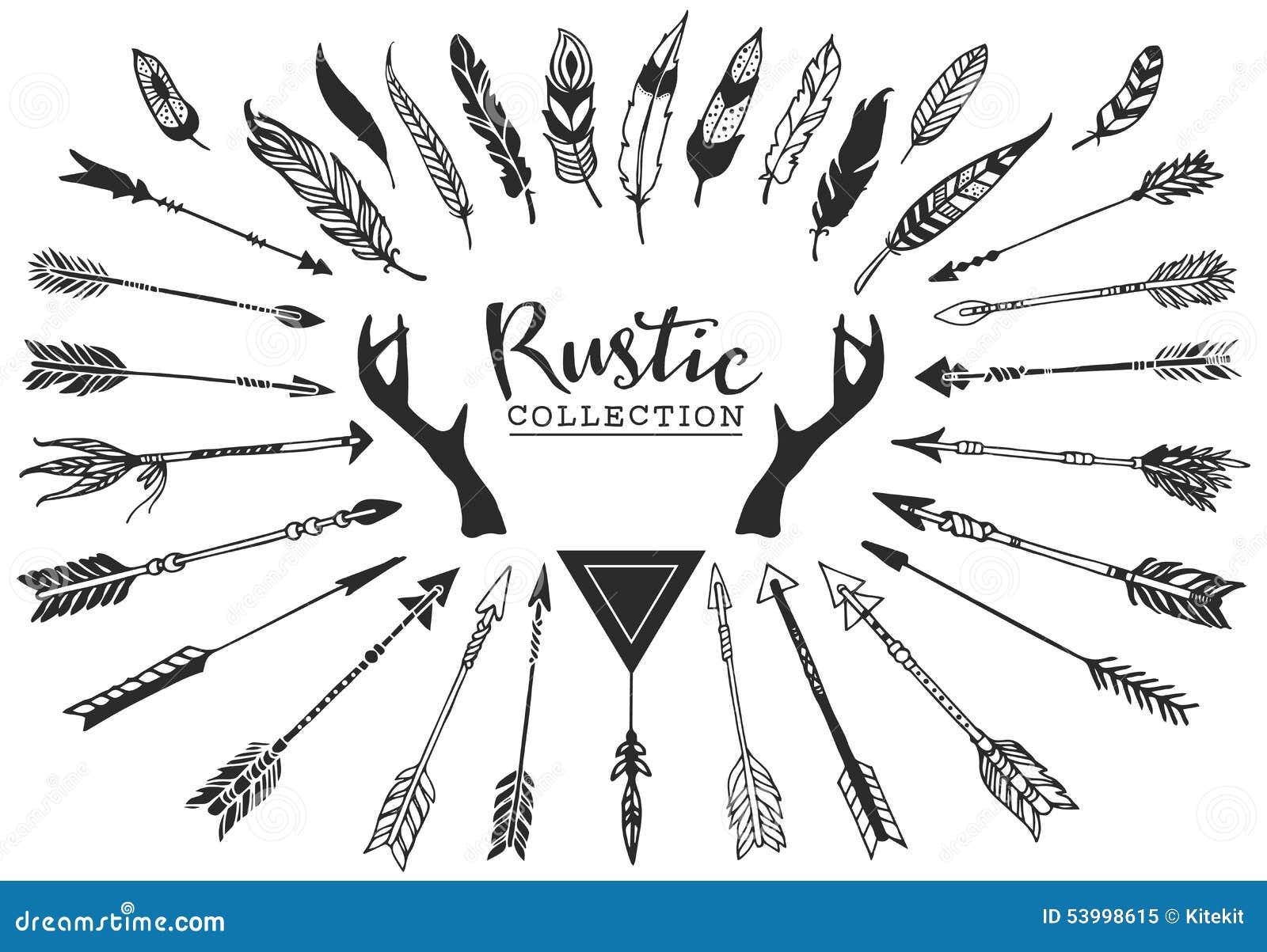 Rustikale dekorative Geweihe, Pfeile und Federn Hand gezeichnetes vinta