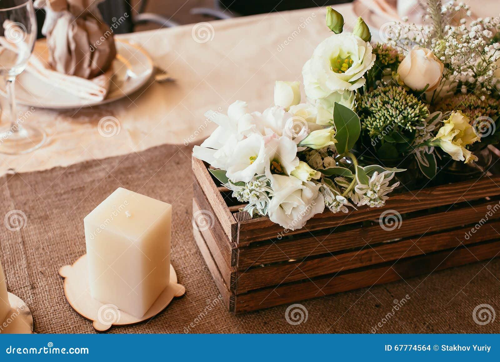 Rustikale Hochzeits Dekorationen Holzkiste Und Kerze Mit