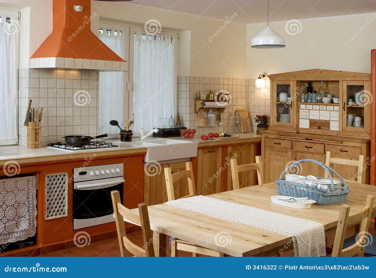 Rustikale Küche stockfoto. Bild von rustically, kochen - 3416322