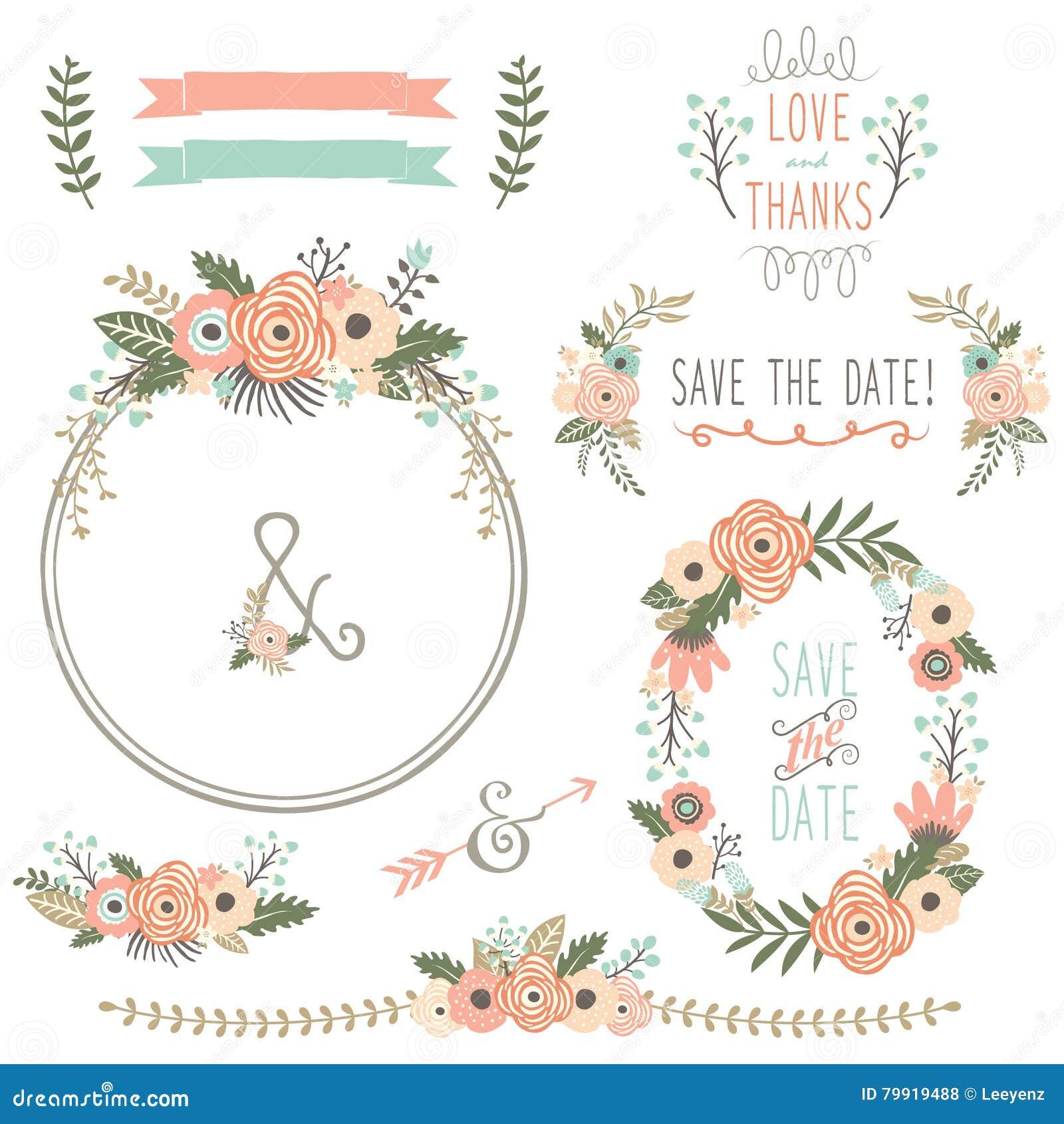Rustikaler Hochzeits Blumen Kranz Vektor Abbildung Illustration