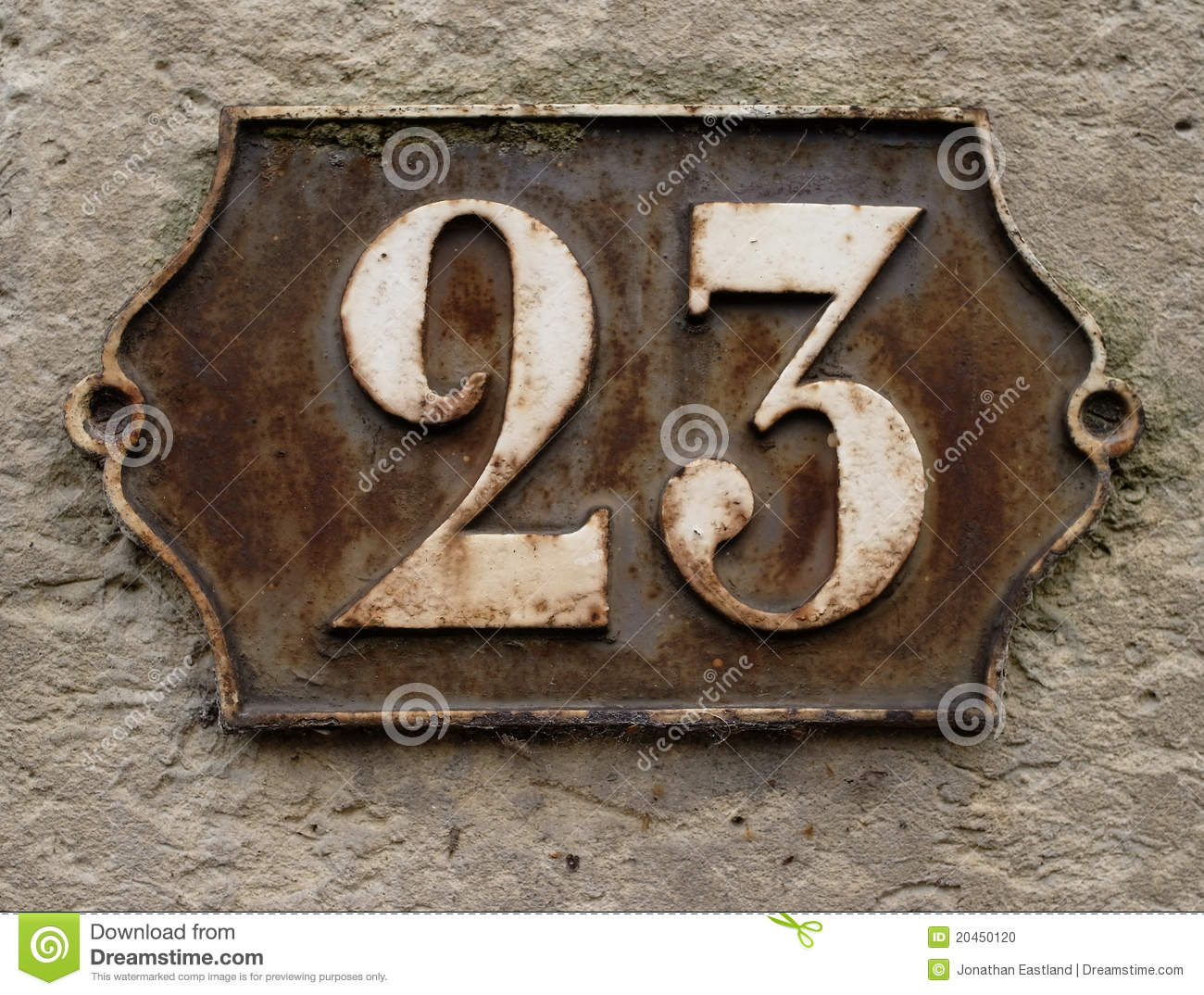 Rusting cast iron number plate