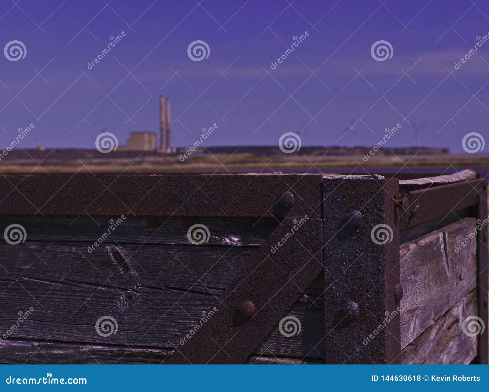 Rusting coal mine pit tub 3484