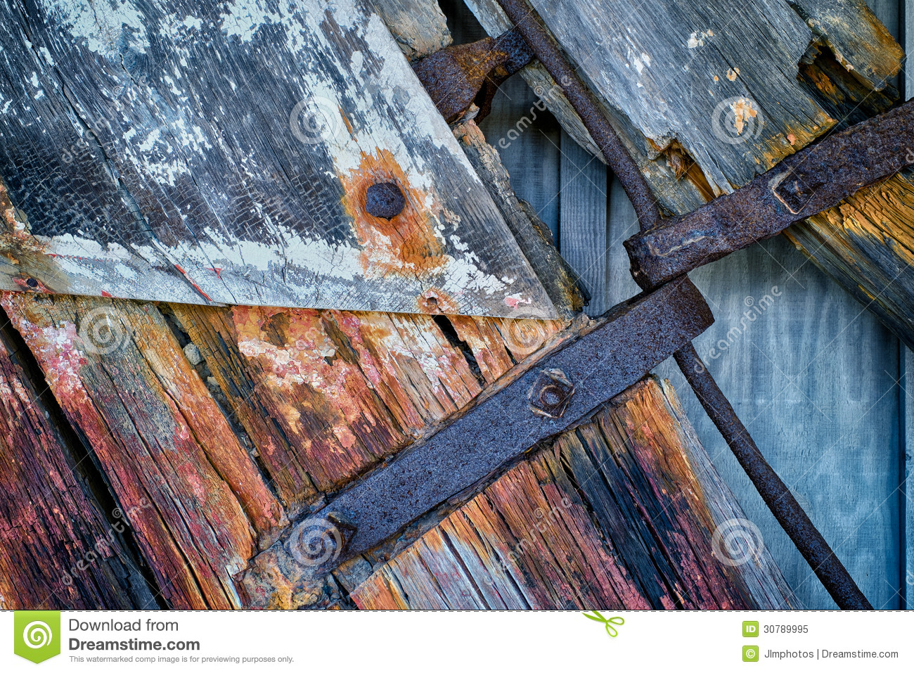 Rusting Iron And Weathered Wood On Old Rudder Stock Image
