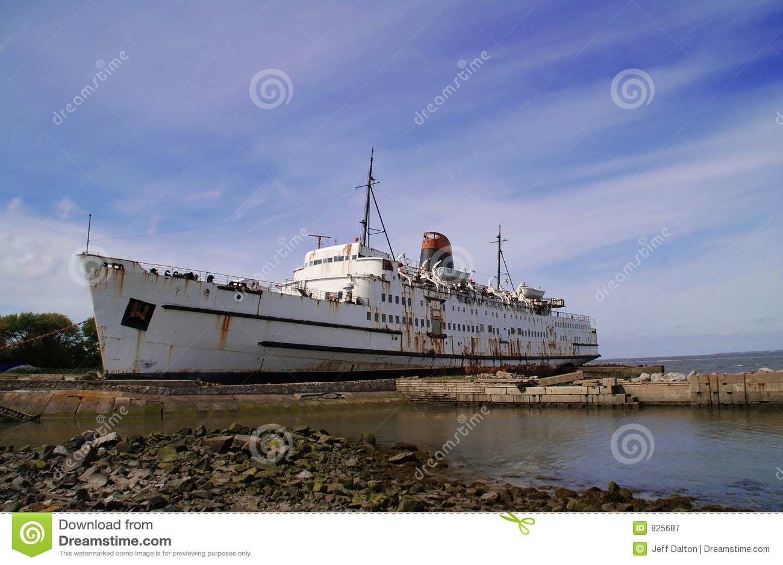Rusting old passenger ship