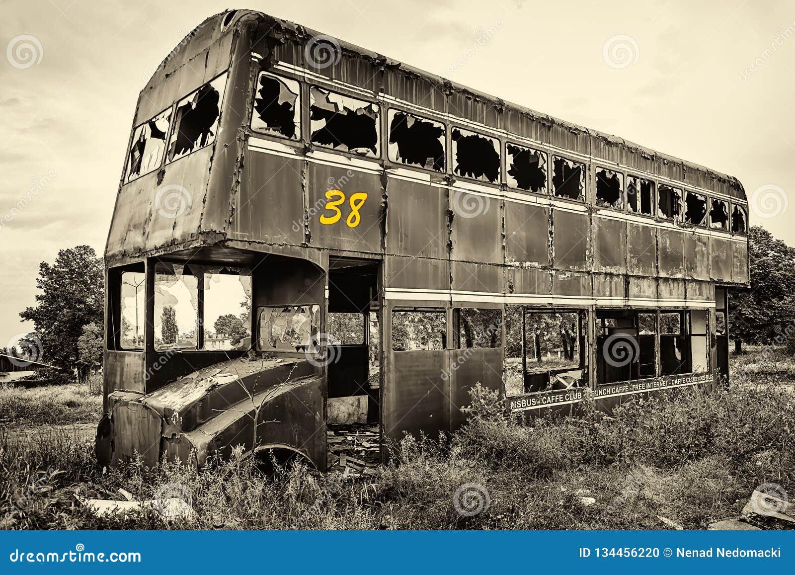 Rusty Abandoned Double-Decker Bus