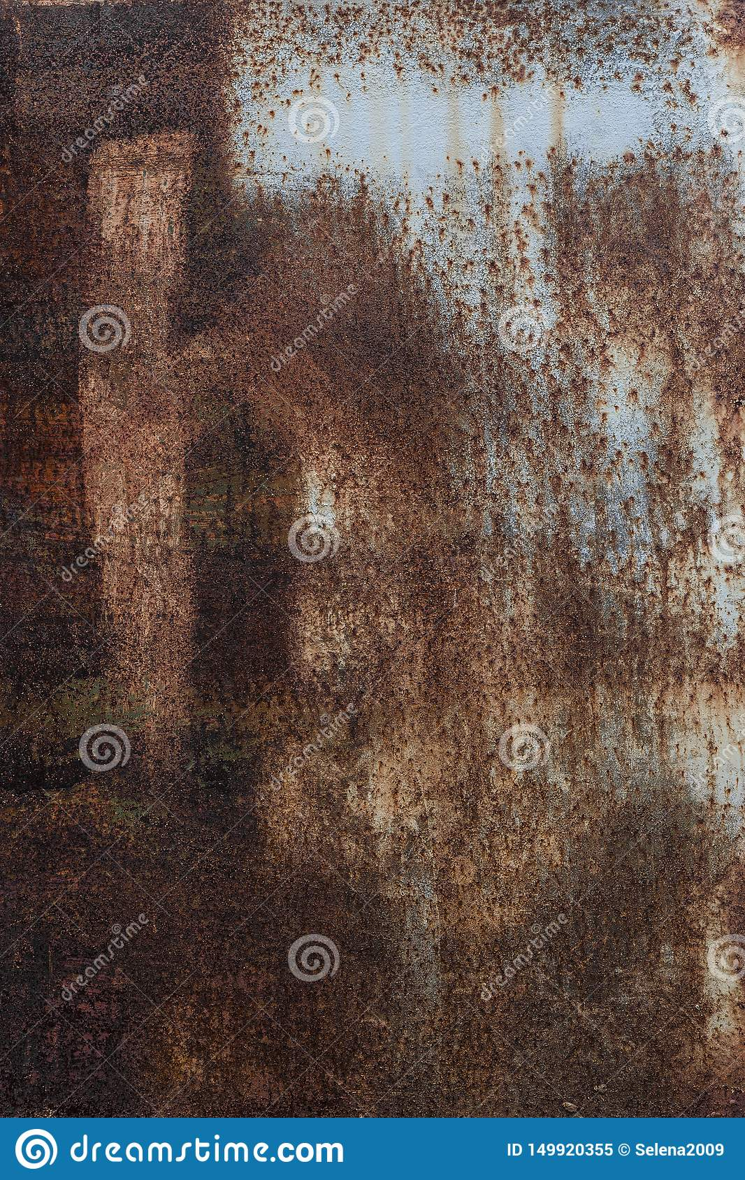 Rusty background. Old rusty metal sheet. Red rusted wall of the garage. Brown Grunge texture. The inscription is visible