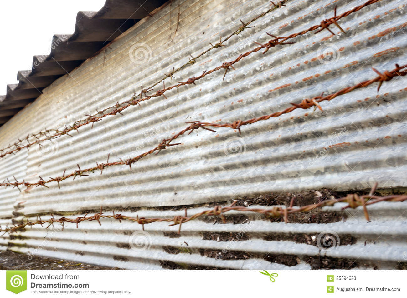 Rusty Barbed Wire And Zinc Metal Fence Stock Image - Image of ...