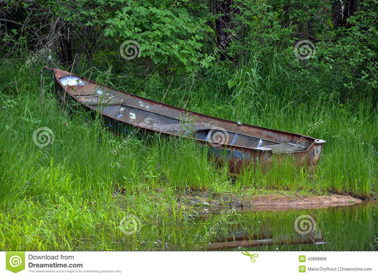 Abandoned rusty row boat in weeds with pond water reflection.