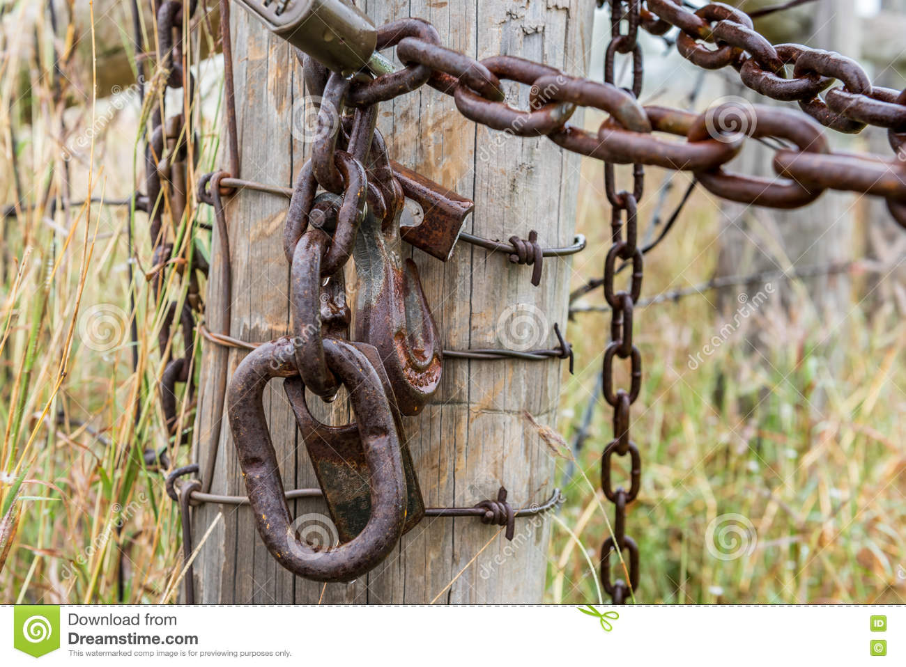 Rusty chain and lock on fense post