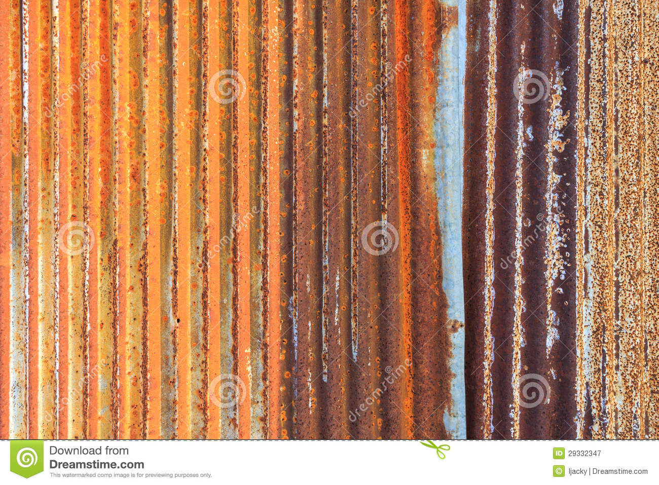 Rusty Corrugated Iron Metal Fence Zinc Wall Textur Royalty