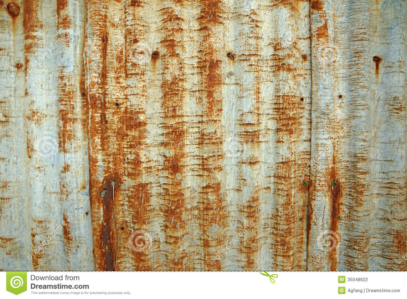 Rusty Corrugated Metal Roof Texture Stock Photography