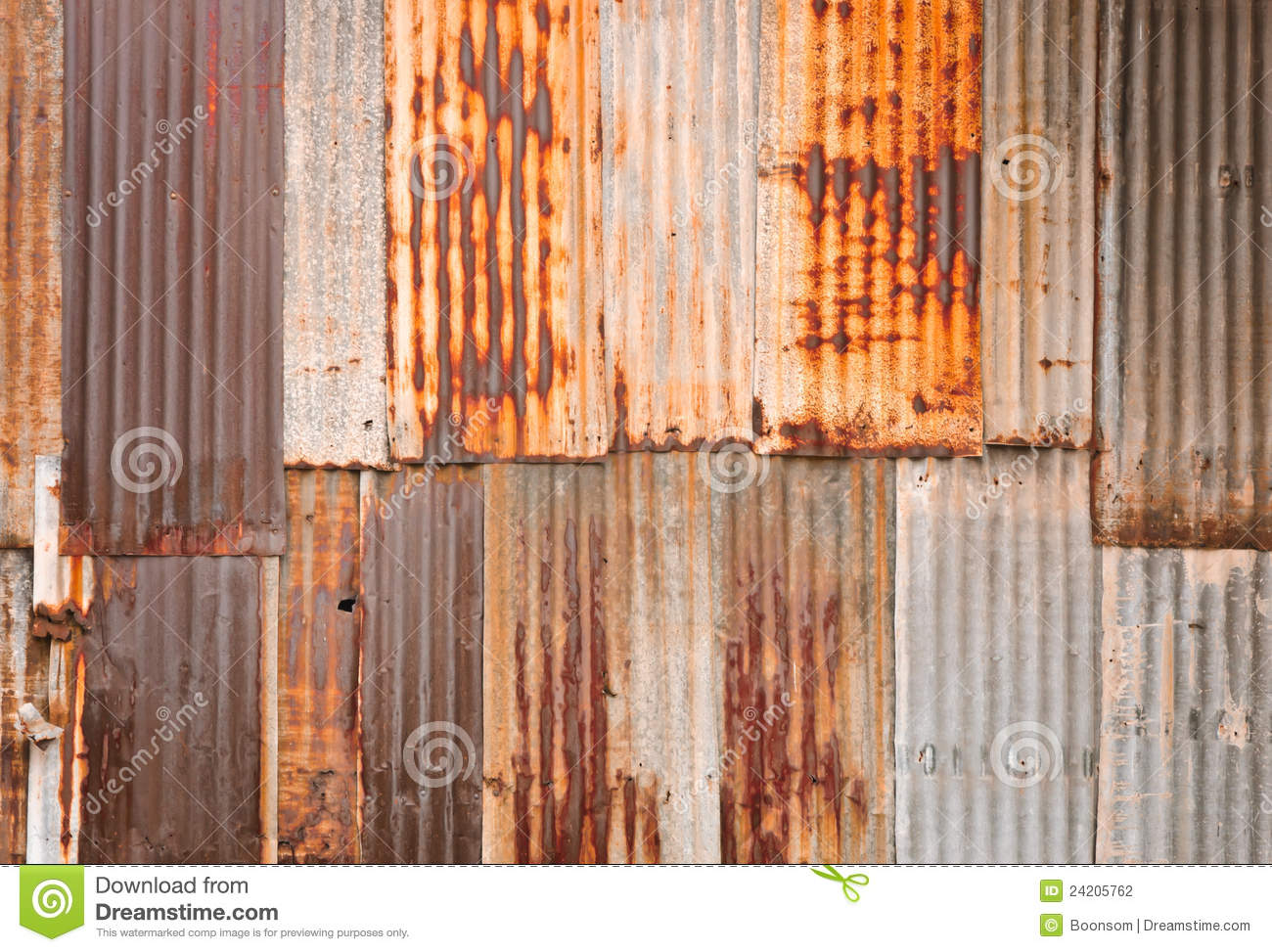 Rusty Corrugated Metal Wall Stock Photo Image Of Grunge