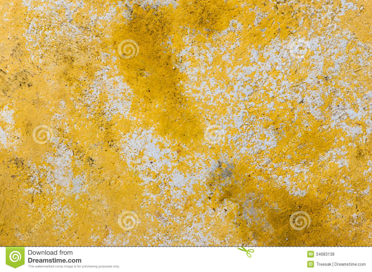 Rusty Damage Yellow Paint Color On Cement Wall Stock Photo - Image ...
