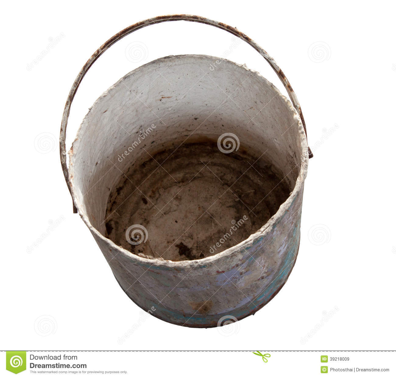 Rusty And Dirty Metal Blank Of Bucket With Clipping Path