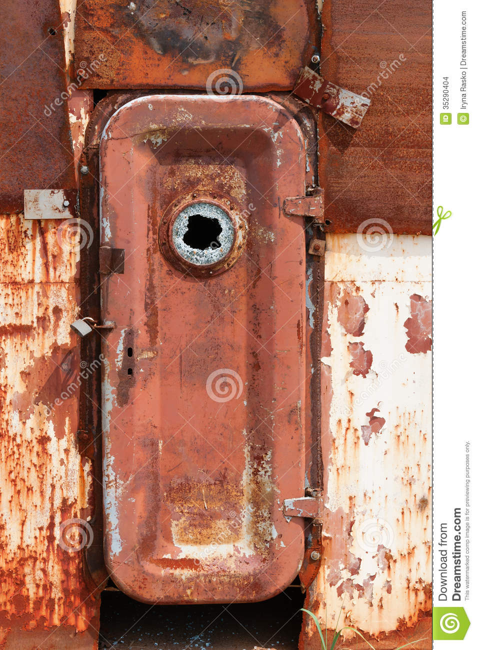 Rusty Door rusty door on wrecked abandoned ship stock images - image: 35290404