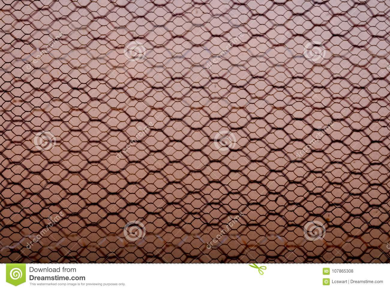 Rusty Double Layer Hexagonal Wire Mesh Background