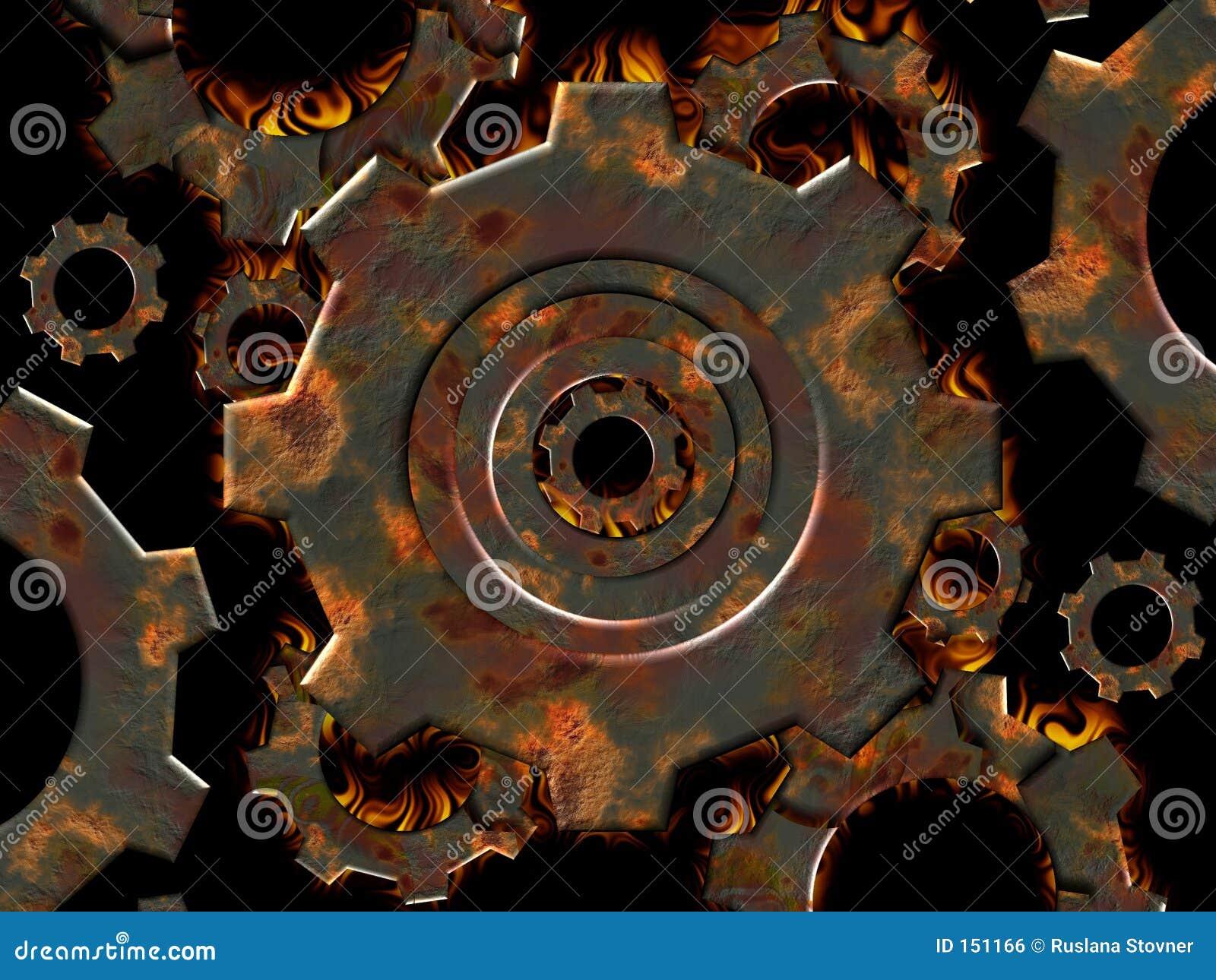 Rusty gears on fire
