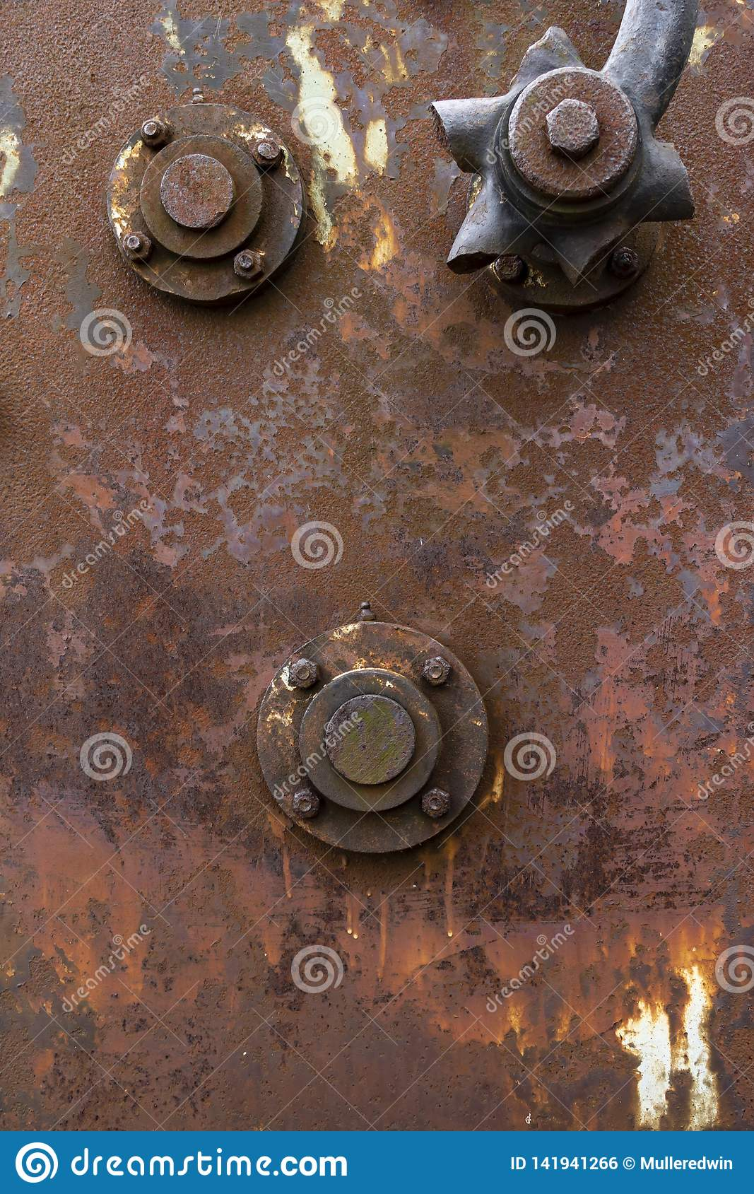 Rusty industrial panel texture with bolted on accessories
