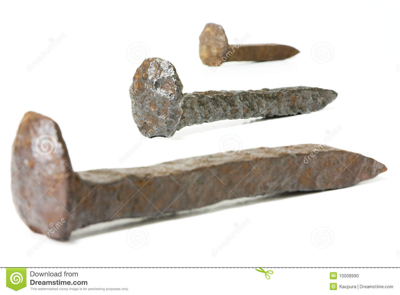 Rusty Iron Railroad Spikes Stock Photo Image 10008990