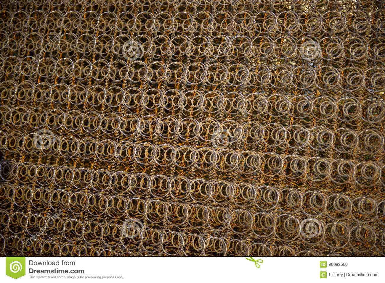 Rusty Iron Wire Fence Made From Old Mattress Stock Photo Image Of Mattress Grid 98089560
