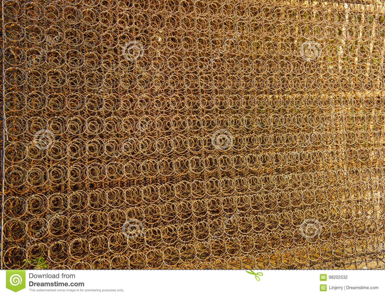 Rusty Iron Wire Fence Made From Old Mattress Stock Photo Image Of Material Metal 98202532