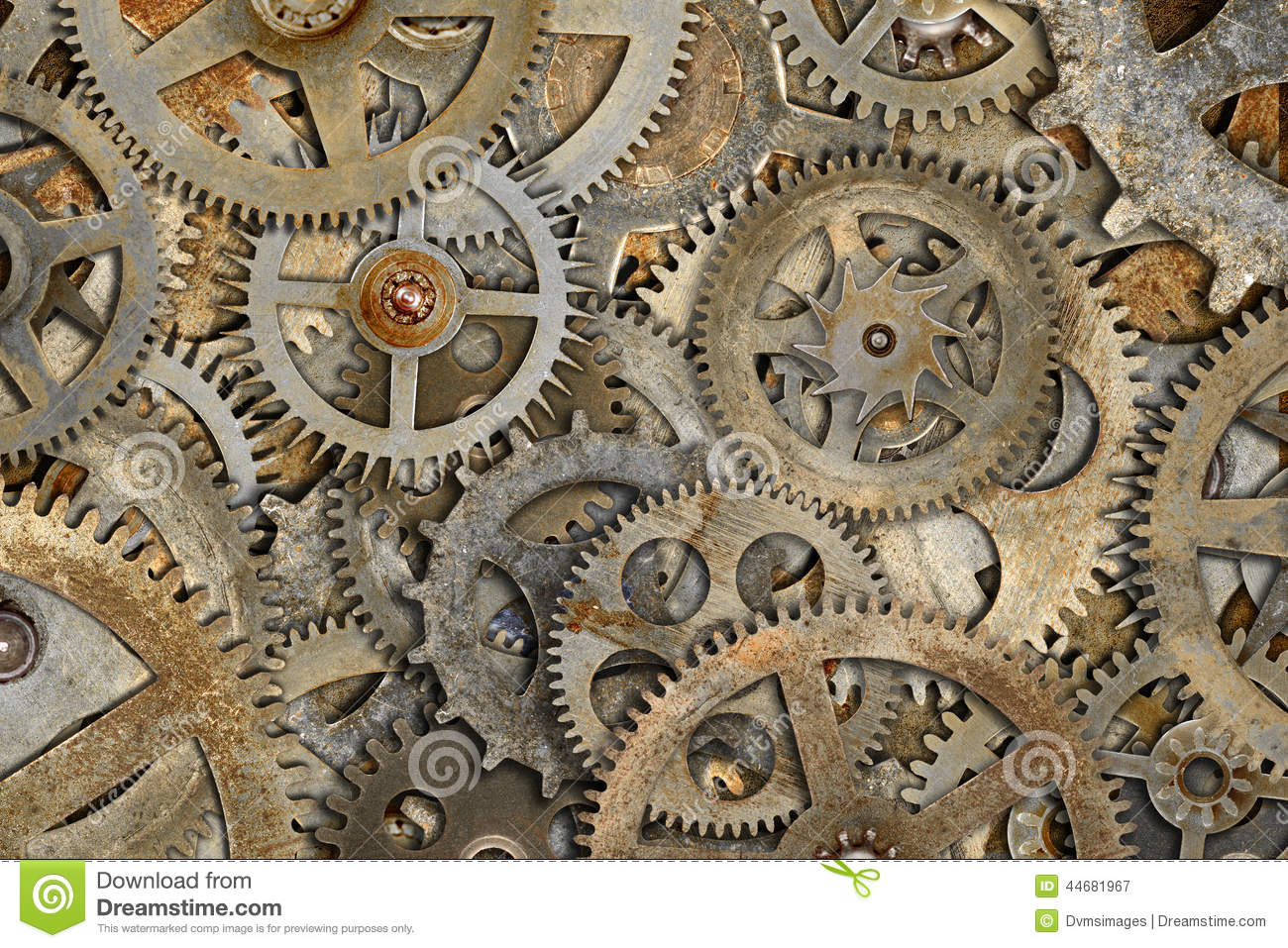Old Cogs Background Stock Photo - Image: 44681967