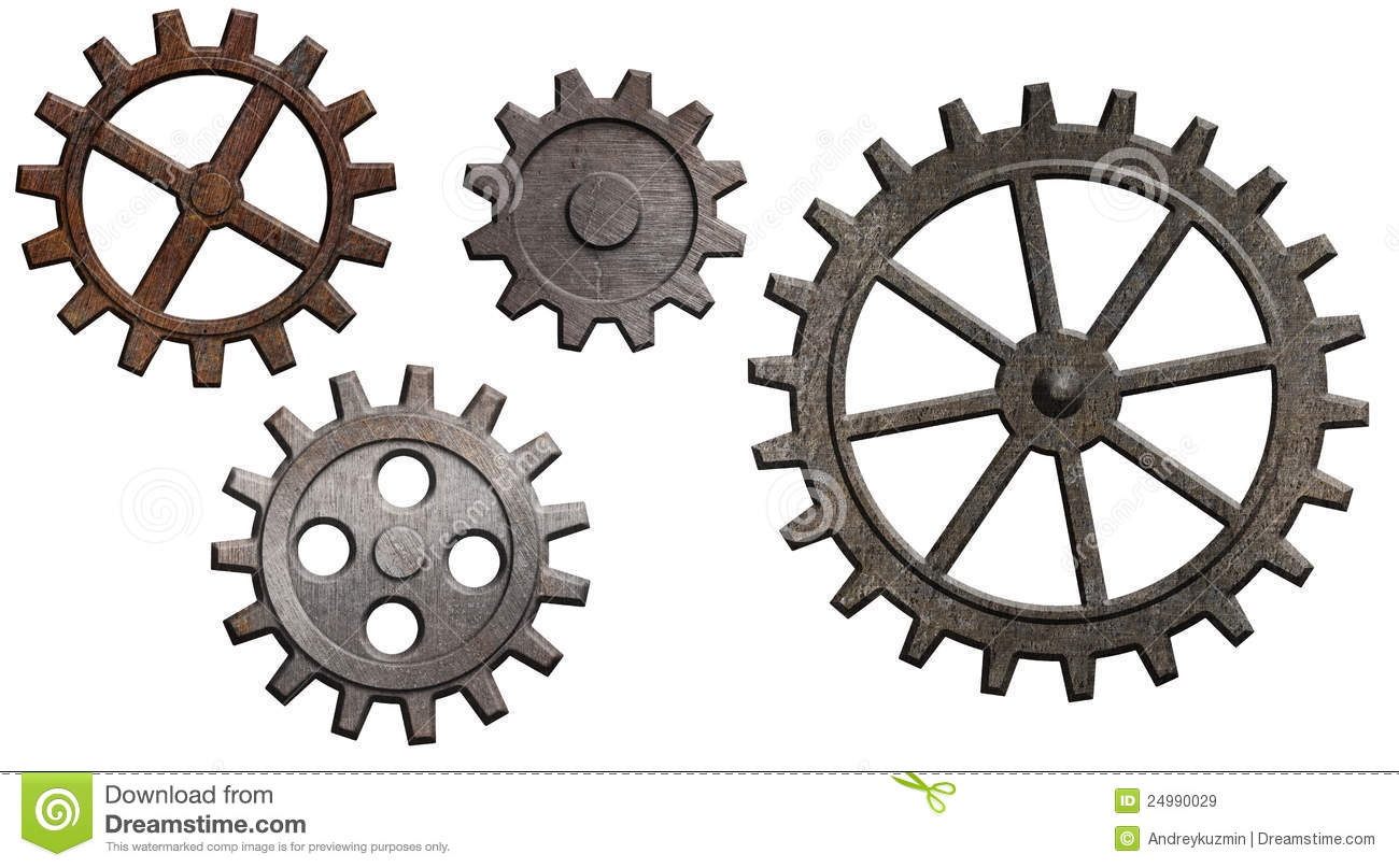 Rusty Metal Gears And Cogs Set Isolated On White Royalty Free Stock ...