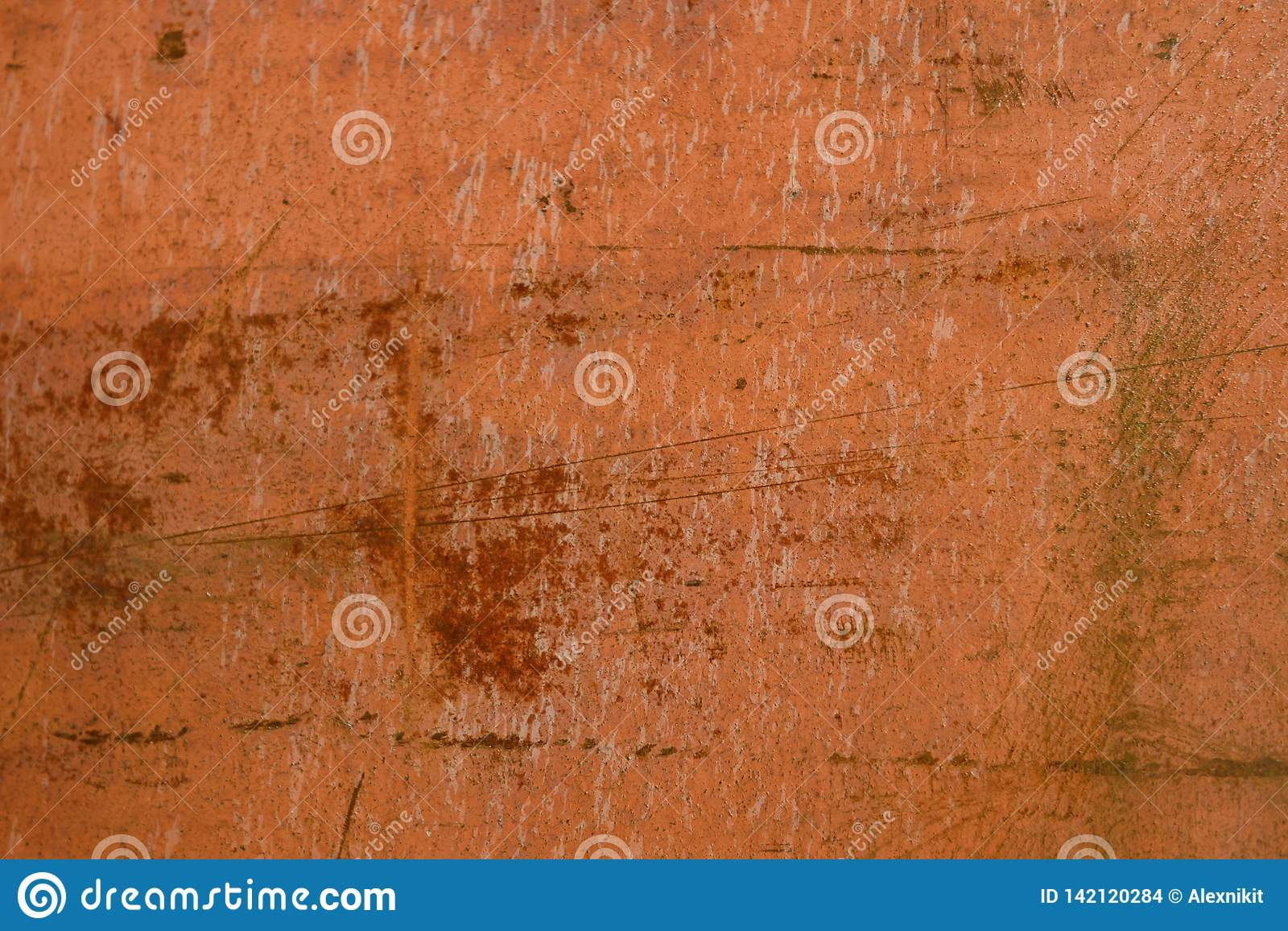 Rusty metal surface with scratches