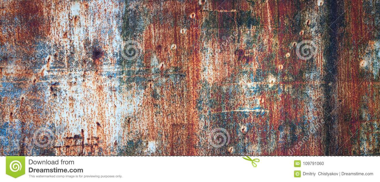 Rusty Metal Wall Old Sheet Of Iron Covered With Rust With