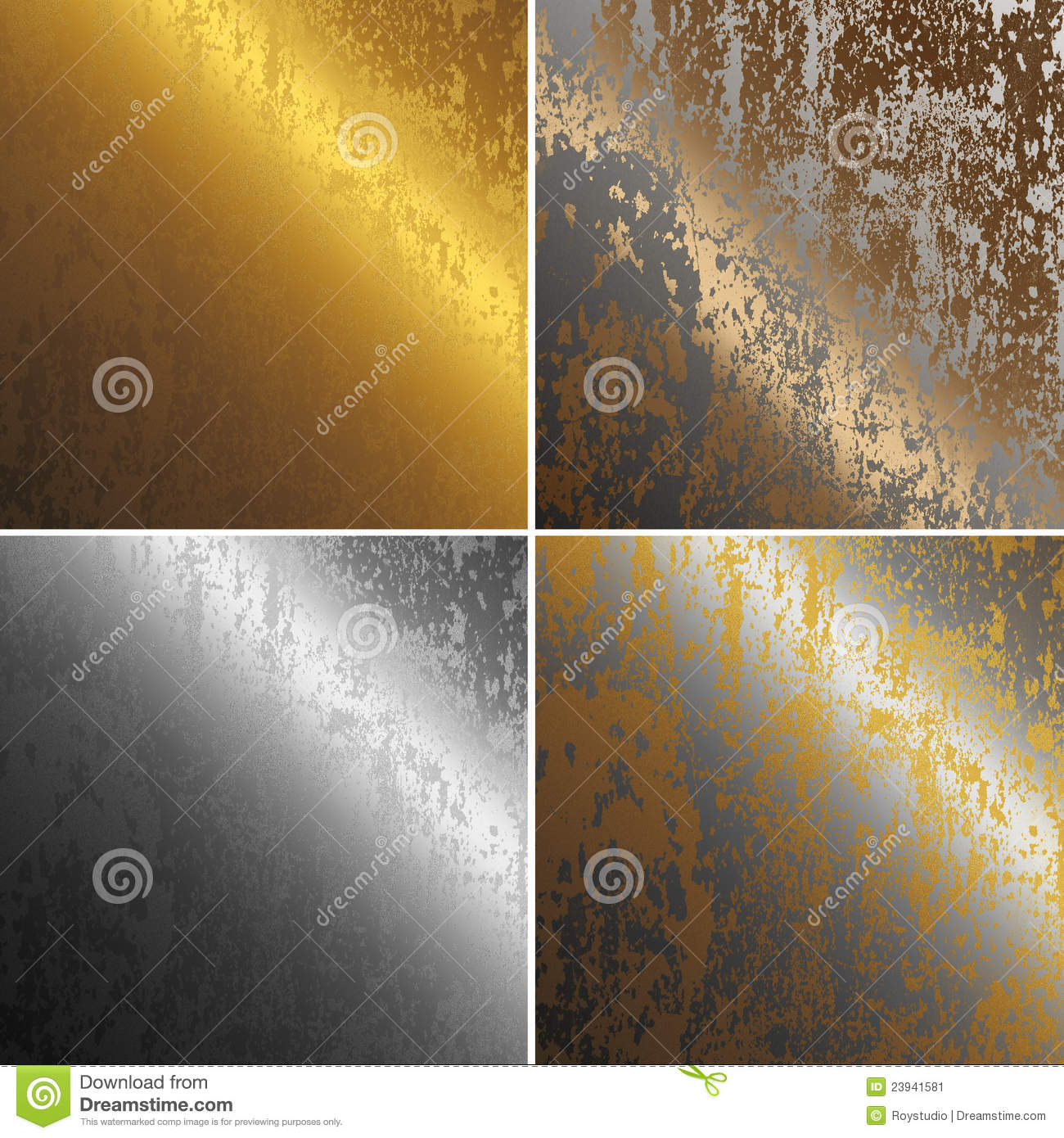 Rusty Metal Textures Col Copper Gold And Silver Stock