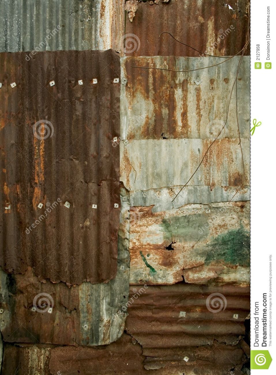 Rusty Corrugated Metal Wall Grunge Background Texture