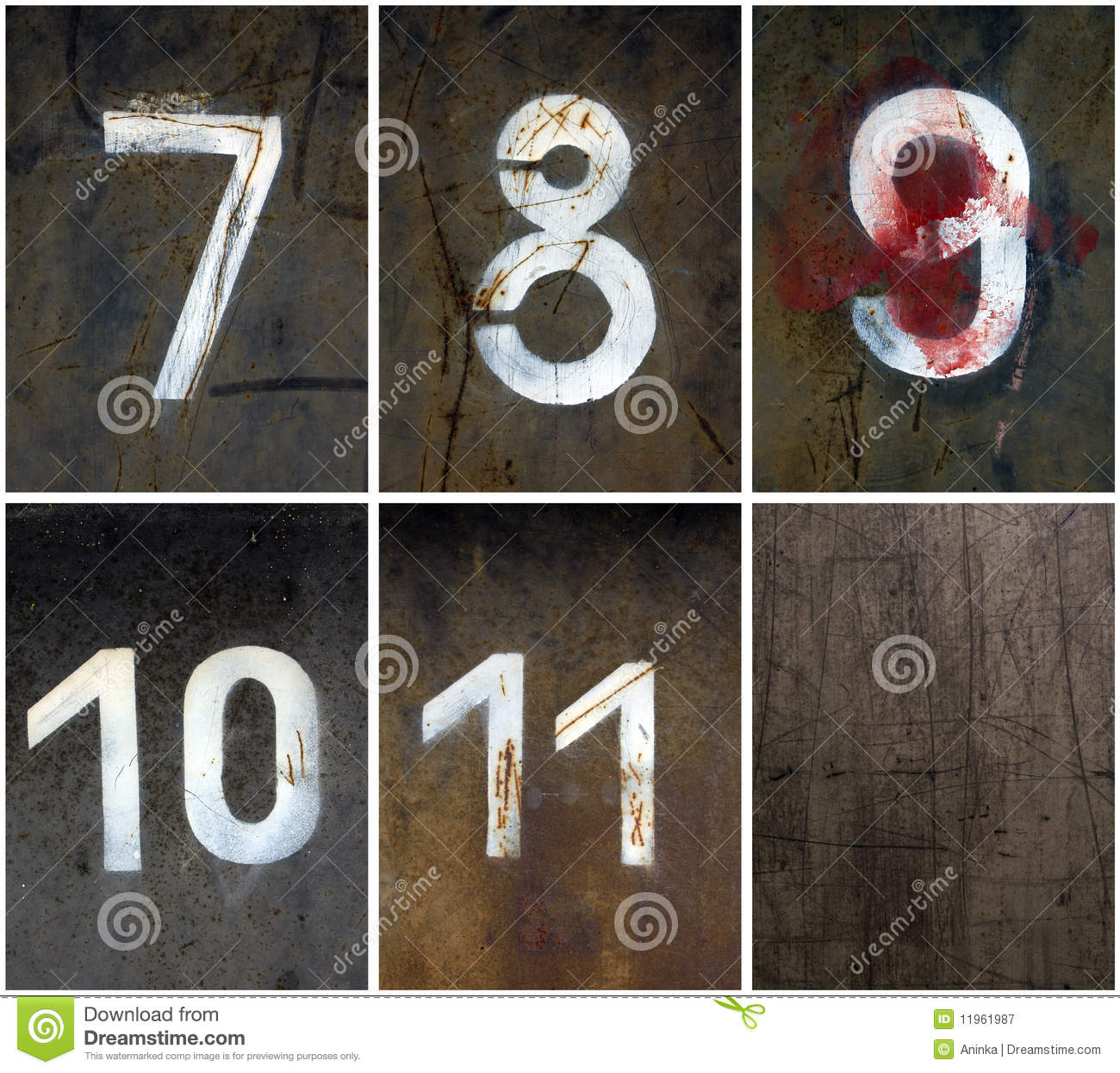 Rusty Numbers 7 11 Stock Image Image Of Color Grungy 11961987
