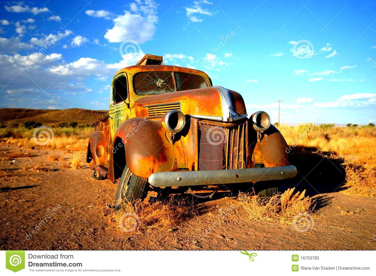 Rusty Old Car In Namibia Stock Image. Image Of Sand