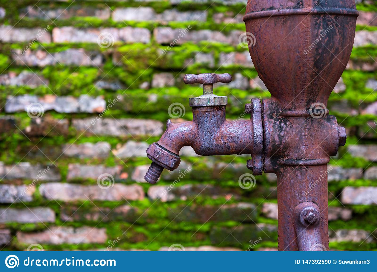 Rusty Old Faucet With Old Brick Wall Stock Photo - Image ...