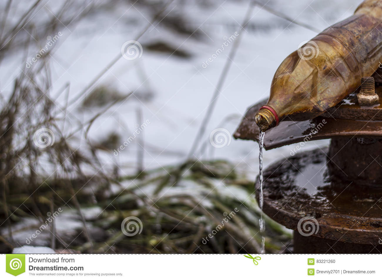 Rusty Old Faucet On A Spring In The Village Stock Photo - Image of ...