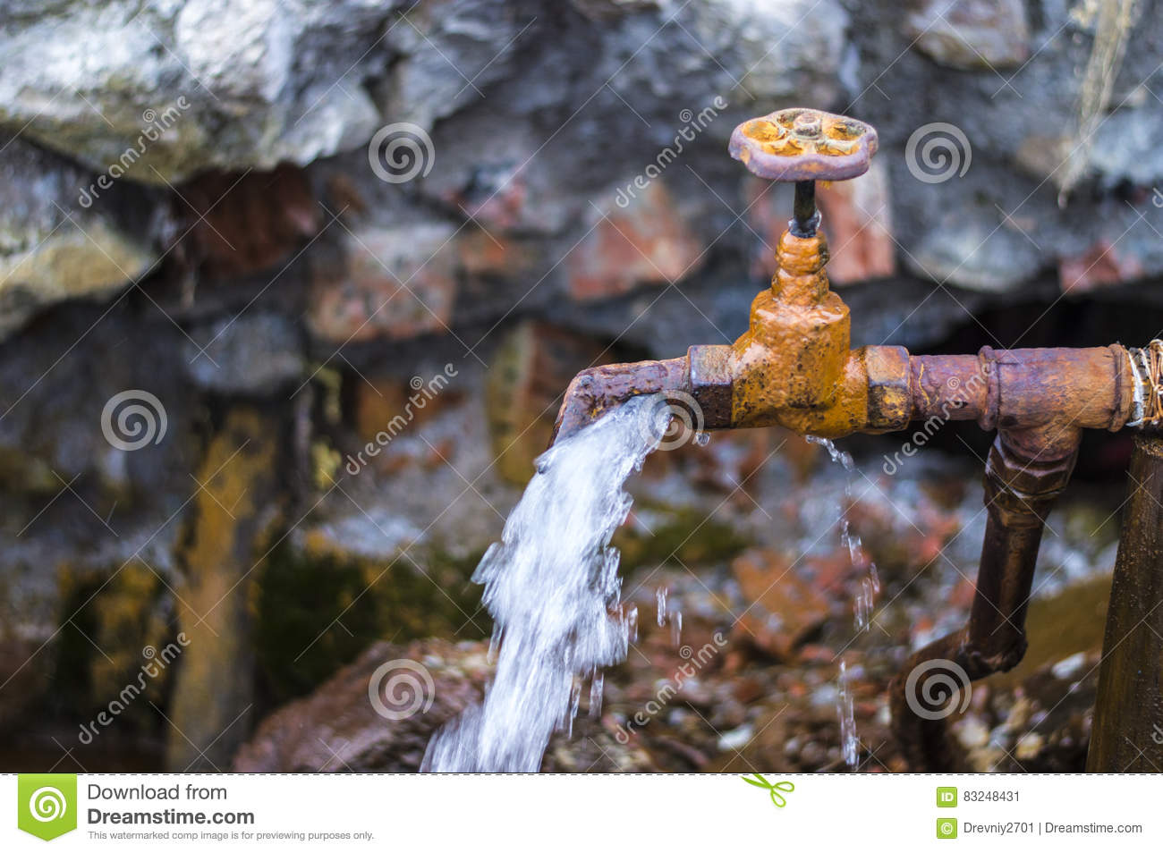 Rusty Old Faucet On A Spring In The Village Stock Image - Image of ...