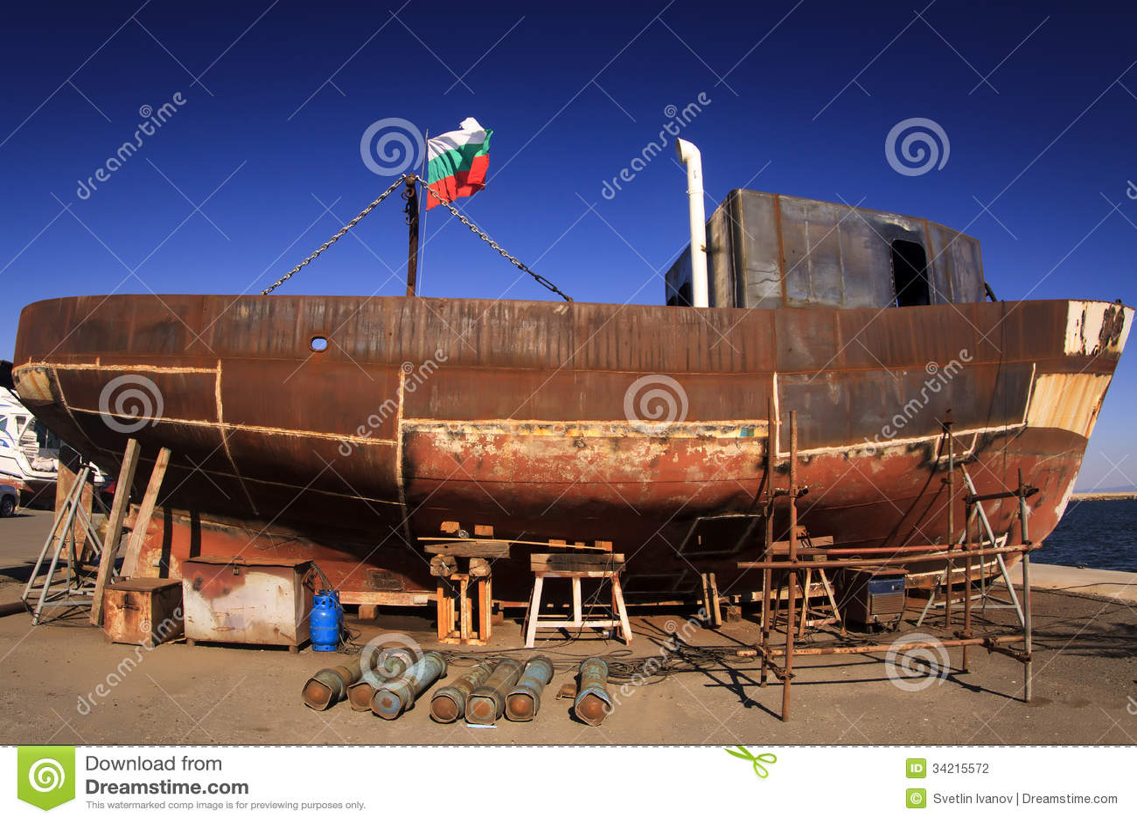 Unfinished old fishing boat ship at the shipyard in Sozopol,Bulgaria.