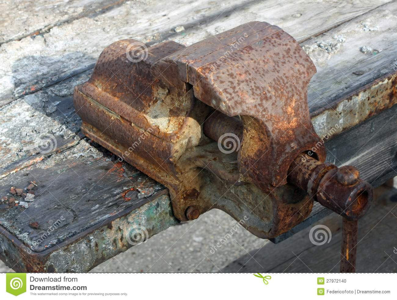 Rusty And Old Work Bench Vice Stock Photo Image 27972140