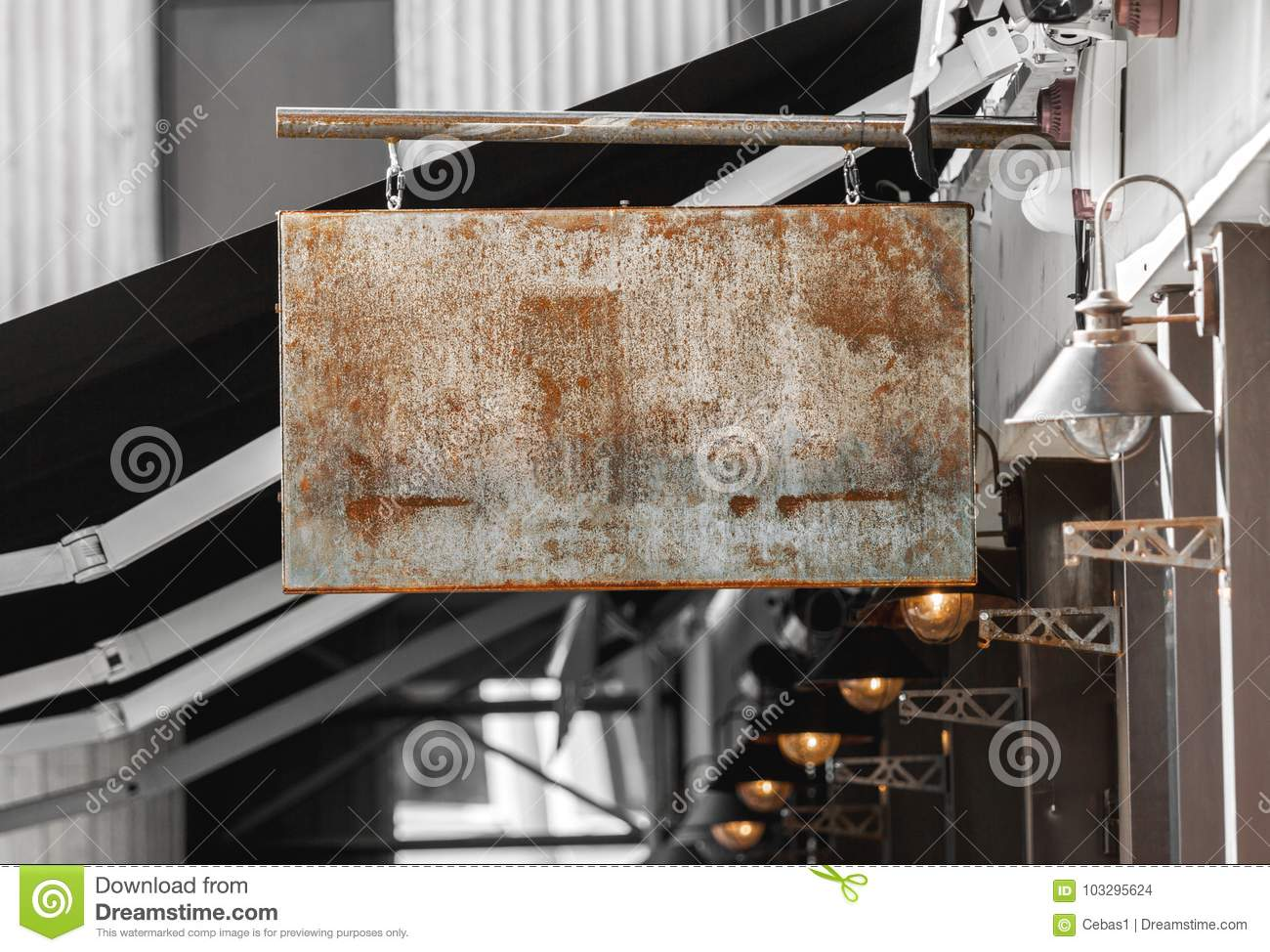 Rusty outdoor business signage mockup to add company logo