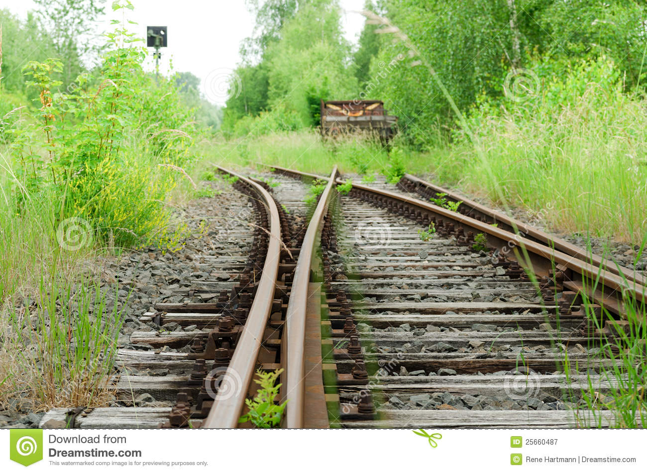 Rusty Railway Switch With Lost Train Royalty-Free Stock