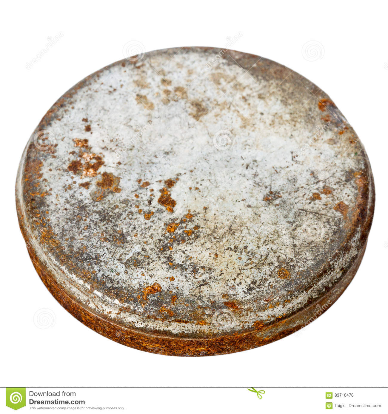 Rusty Round Metal Plate Stock Photo