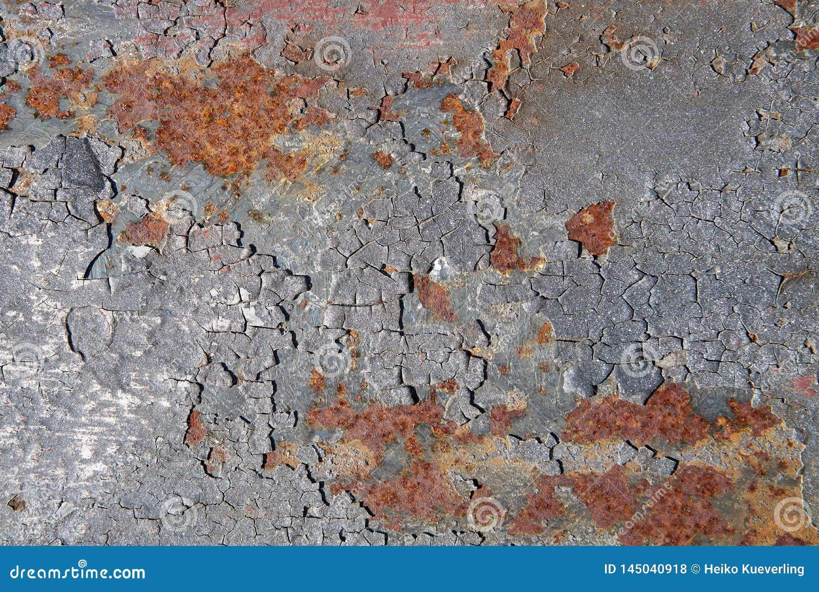 Rusty surface of an old bridge pier