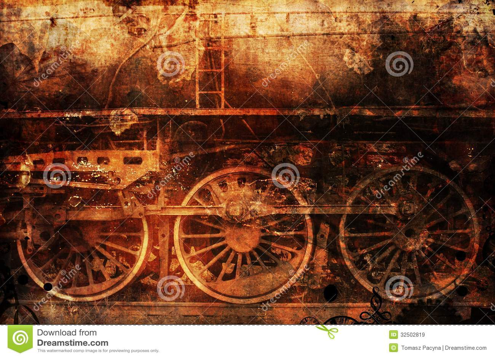 Rusty train industrial steam-punk background