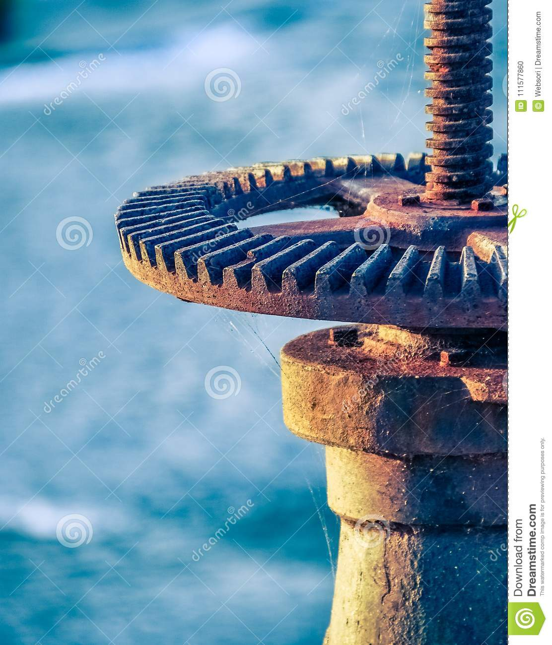 Rusty Wheel And Gear of Sluice Valve With Spider Web