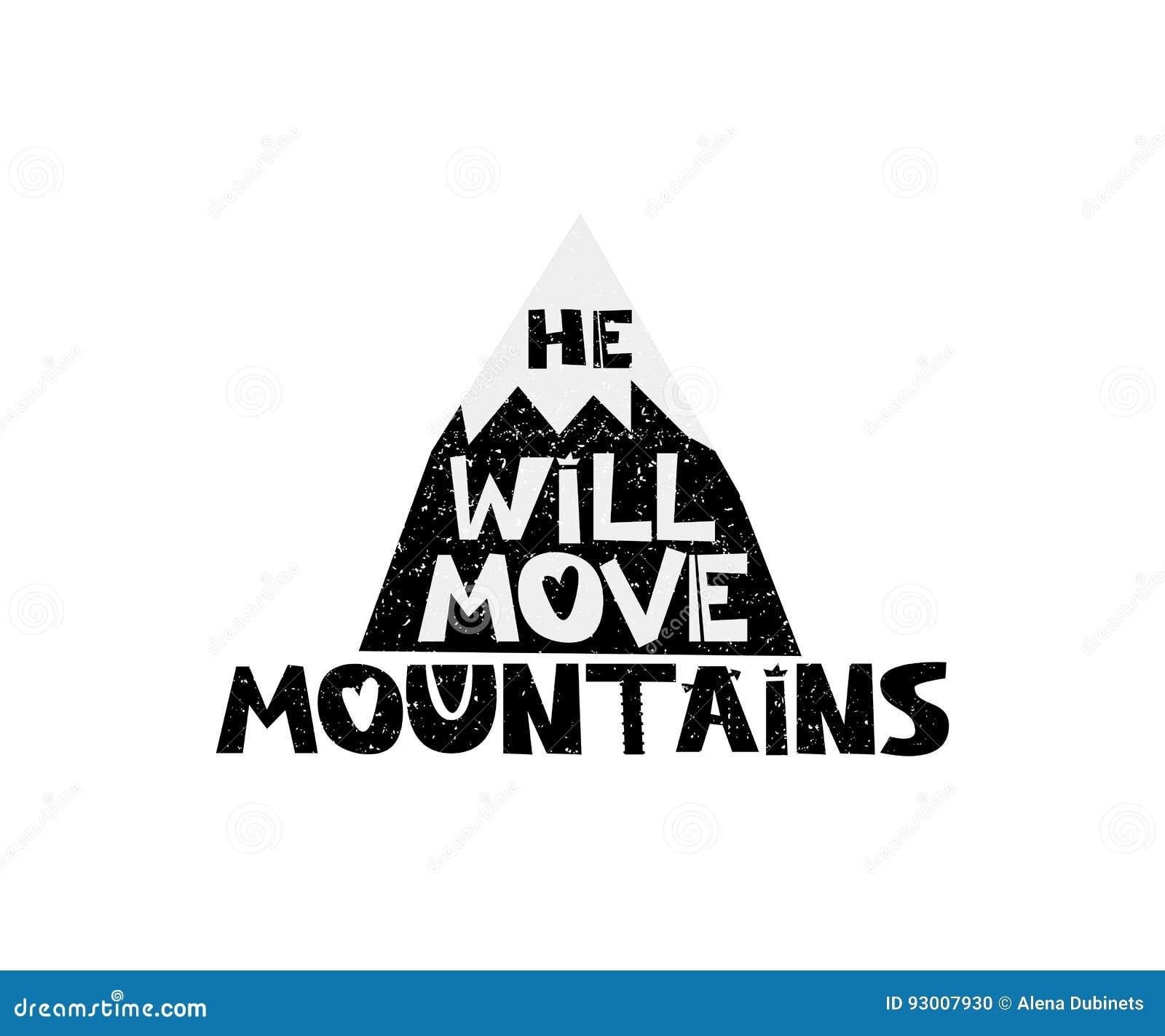 Rusza Się Góry Ręka Rysujący Stylowy Typografia Plakat Z
