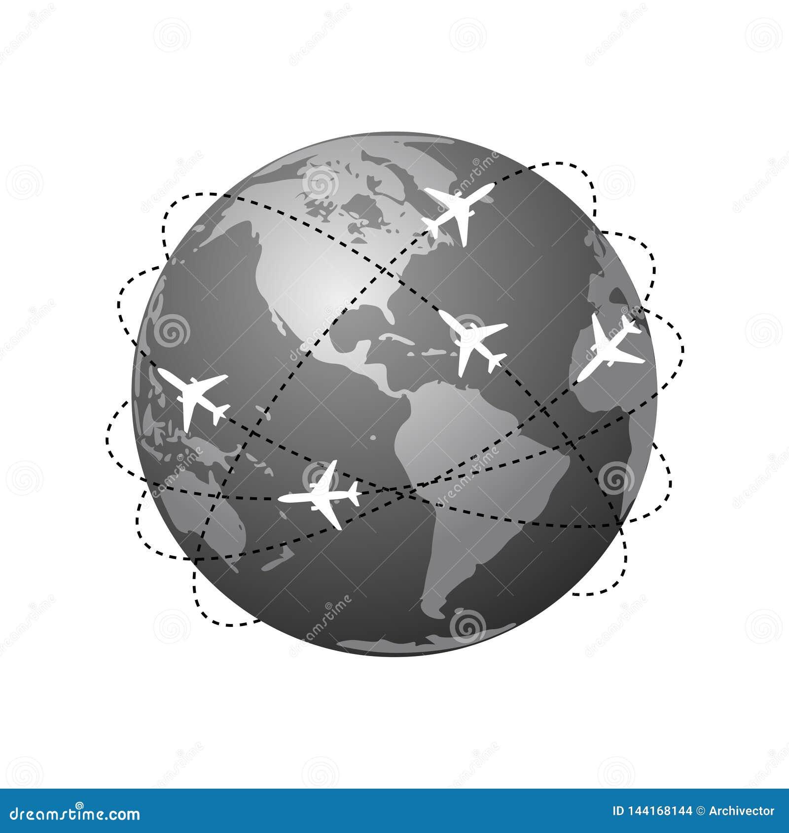 Rutas de los aviones Símbolo global del viaje