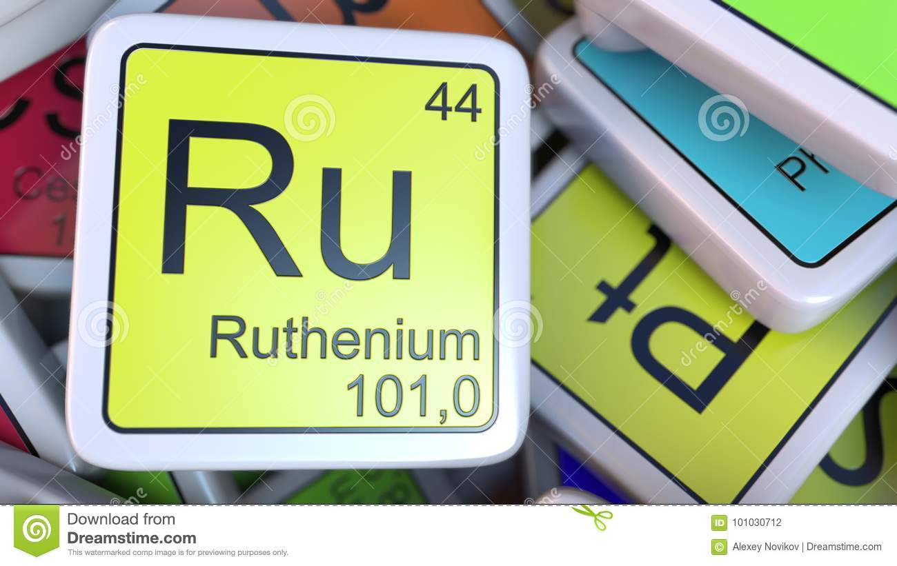 Ruthenium Ru Block On The Pile Of Periodic Table Of The Chemical
